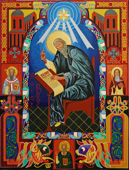 An icon by Br. Kenneth Hosley, OPC, of Bede, the rigorous historian, with Saints Aidan, Hilda and Cuthbert. Bede was the first scholarly historian to document and interpret events, as opposed to earlier royal chroniclers who kept official records. Bede's Church history of England covers the period 597-731 and remains a primary source even today. He also wrote Scripture commentaries and translated the Gospel of John.
