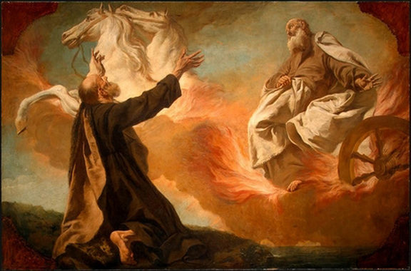 The ascension of Elijah: Elisha Watches Elijah Depart (artist unknown)