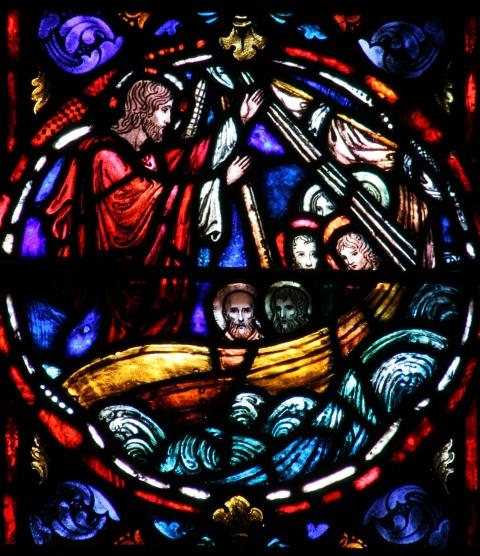 Jesus calms the sea (source unknown)