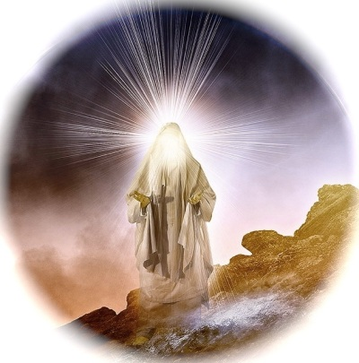 The radiance of Moses' face on the mountain is, to Christians, a foretaste of the Transfiguration of Christ, at which Moses was also present. (artist unknown)