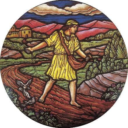 Parable of the Sower: Jesus describes the lure of wealth as one of the thorns that prevents the seed of faith from growing. (artist unknown)