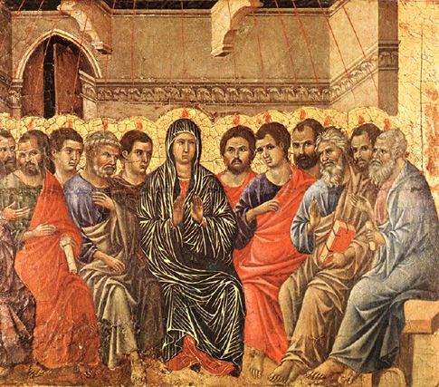 Duccio di Buoninsegna, tempera on wood, 1308: Pentecost
