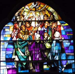 Pentecost window, Christ Church, Pompton, New Jersey, USA