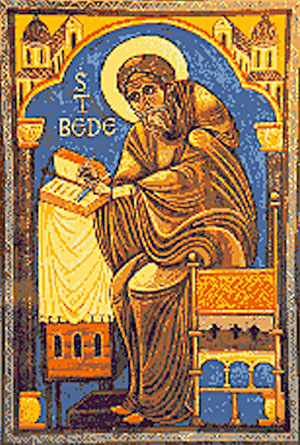 """Why do we call Bede the Venerable? People called him that in his lifetime, because it wasn't right to call him a saint yet, but they knew he would become one. Today """"The Venerable"""" is a fairly common title given to archdeacons. (iconographer unknown)"""