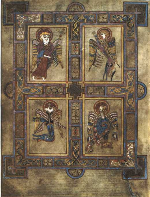 Kells Folio, Irish, circa 800: The Four Evangelists. In the upper left an angel carries Aaron's staff, budding trefoils, a symbol of the Trinity.
