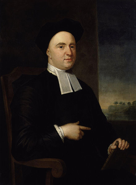 George Berkeley was a priest of the Church of Ireland who came to the American colonies hoping to start a seminary college in Bermuda. That didn't happen, so he gave his Rhode Island estate and library to Yale and returned to Eire, where he became Bishop of Cloyne. Yale used the money and books to start Berkeley College and the Berkeley Divinity School; Berkeley, California is also named for him. He was a philosopher of immaterialism; we can only directly know what our senses perceive, and nothing exists outside the mind. God gave us these senses, they do not exist because of our will; and we perceive what God causes us to perceive, because it is useful to him. A tree began its existence as an idea in God's mind, which we are then able to see, taste, smell, hear and touch. (John Smibert)