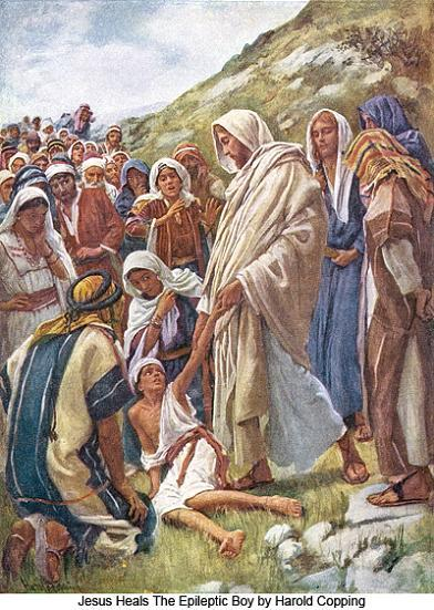 Let's notice the witnesses present. Sometimes Jesus healed privately, sometimes publicly;  tonight's Gospel features a big arguing crowd. We also see that touch was involved; Jesus lifts the boy up with both hands. The witnesses all thought the boy was dead, so this is a resurrection story, too.