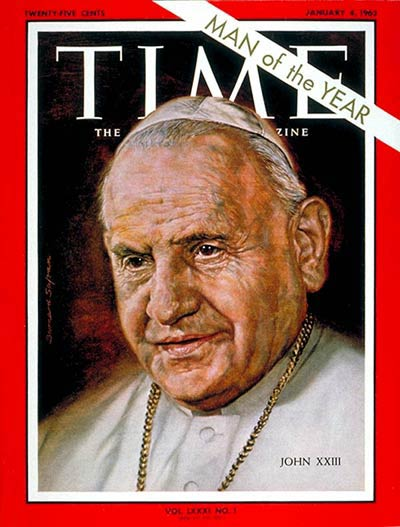 "Angelo Roncalli, known as ""Good Pope John,"" was widely assumed to be a caretaker when he was elected at age 77 after the long reign of Pius XII. But in the first year of John's pontificate he called Vatican II, an ecumenical council which transformed all of Christianity for the 20th century. (Time magazine)"