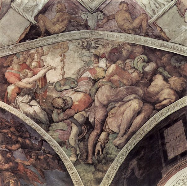 Michelangelo, 1508: Moses Holds Up the Bronze Serpent (Sistine Chapel)