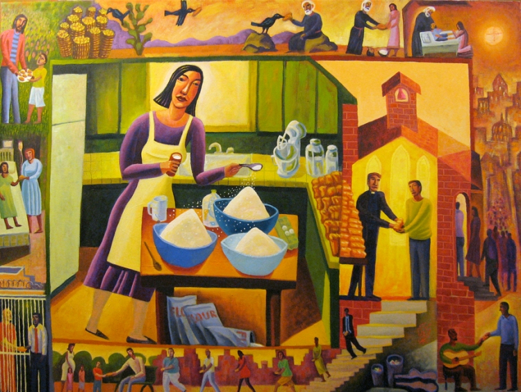 James B. Janknegt: Parable of the Leaven. The Feeding of the Multitude is depicted in the upper left, and from there bread gets shared in a variety of ways; birds carry it, priests and laypeople hand it out, prisoners and the sick get fed.