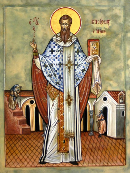 Basil, the father of Eastern monasticism, was an assertive Trinitarian, as the Collect of the Day indicates. He maintained that both Scripture and faith require that the same honor, glory and worship be paid to the Holy Spirit as to the Father and the Son. (iconographer unknown)