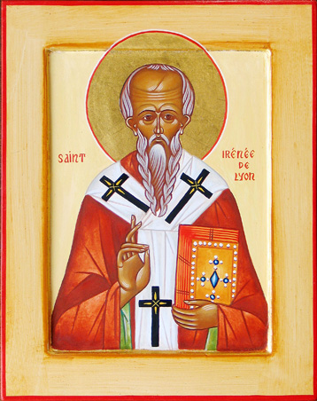 One of the amazing things about the Early Church is the greatness of the bishops who led it, shaping the faith from the very beginning. Irenaeus is known as a heresy fighter (including against the pope at the time), but here is the point: amidst all the speculation about the Father, Son and Holy Spirit, Irenaeus learned the faith from St. Polycarp, a direct disciple of St. John the Evangelist. Thus apostolic continuity became a central feature of Christian understanding. Church teaching has to be accountable to this Tradition; otherwise it can descend into idiosyncratic interpretation, speculation and invention. (iconographer unknown)