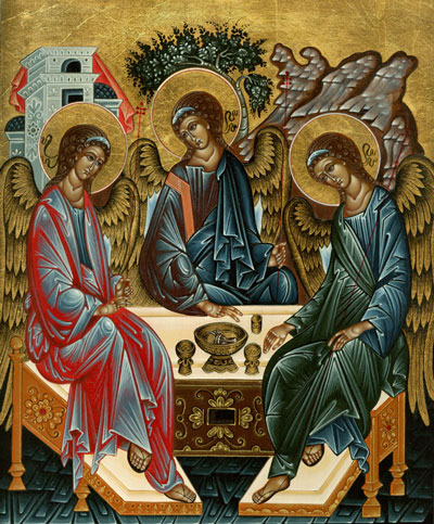 Trinity icon after Rublev: Angels at Mamre, one of the most famous icons in the world.