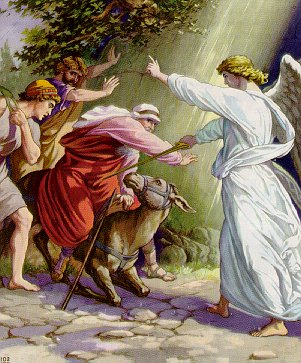 The angel, Balaam and the talking donkey. (artist unknown)