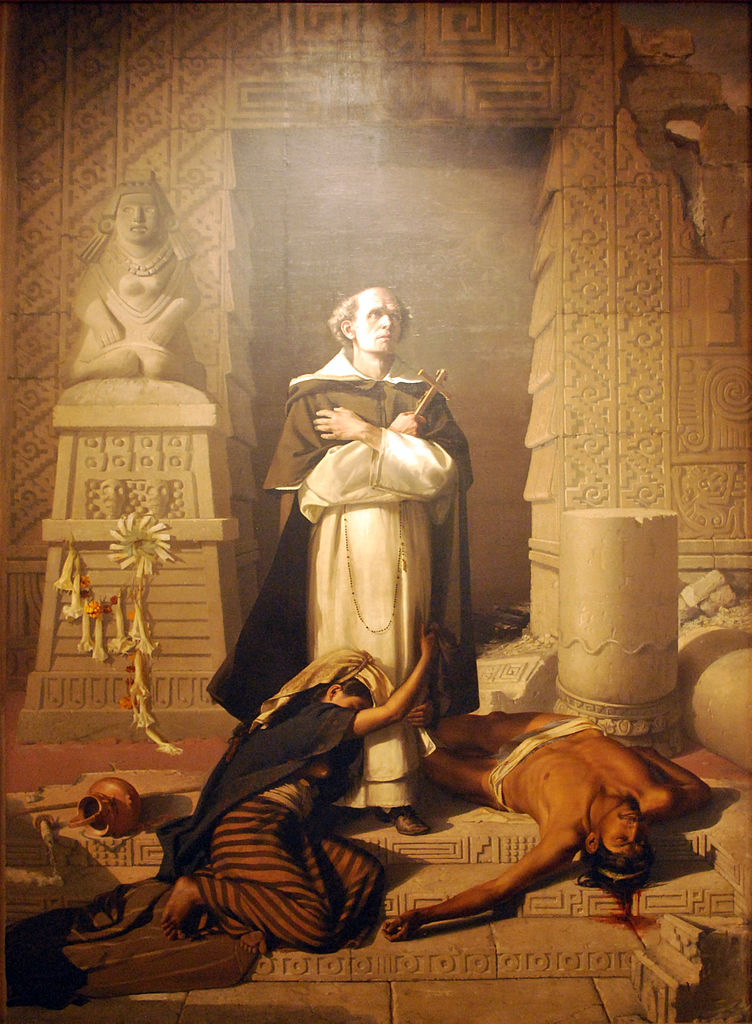 Felix Parra, 1875: Bartolomé de las Casas, Protector of the Indian peoples of Latin America, from Hispaniola and Cuba to México and Venezuela. He fought slavery with everything in him. (Museo Nacional de Arte, Mexico City)