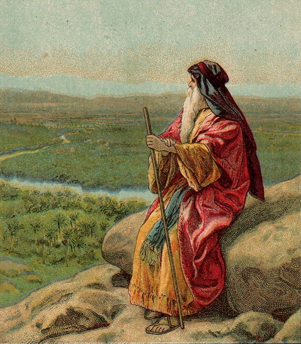 The Death of Moses, focusing on the great prophet in solitude, looking over the Land of Promise. He knows he is dying, but the LORD has shown him this as a great personal gift. Perhaps God left him there to stay as long as he liked. (Providence Lithograph Company, 1907)