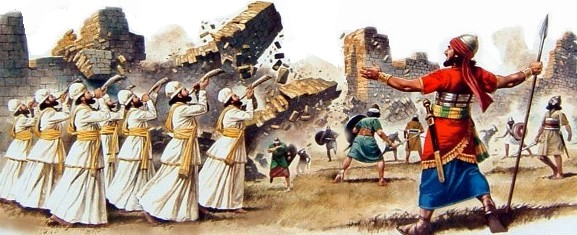 "The victory at Jericho is also the massacre at Jericho: warriors march, priests blow their shofars, the people shout, the walls come down, and the Israelites plunder the city, killing everyone in it. (Odd disconcerting that this is an appointed lesson for today.) (from the book ""Illustrated Family Bible Stories"")"