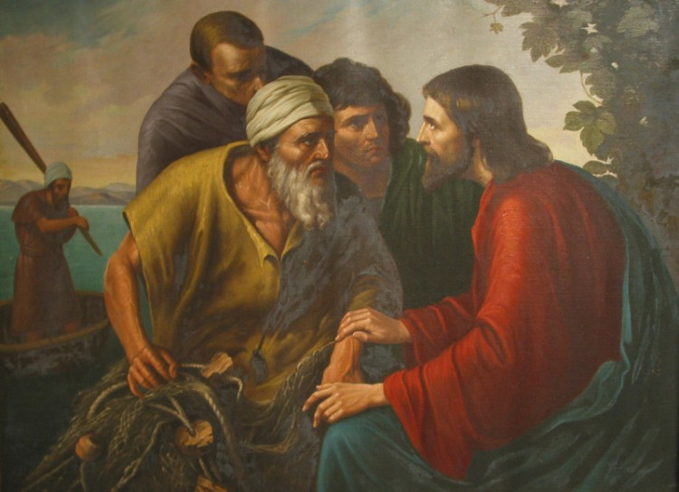 Sr. Gregory Ems, OSB: Jesus, James and John. Sr. Gregory Ems, OSB: Jesus, James and John. The artist depicts an intense encounter between Christ and these brothers, which it surely must have been for them to leave their father and their work to follow this charismatic stranger. Jesus touches James, who leans forward and listens intently; so does his brother and a friend who is with them. Meanwhile a fisherman back in the boat wonders what's going on.