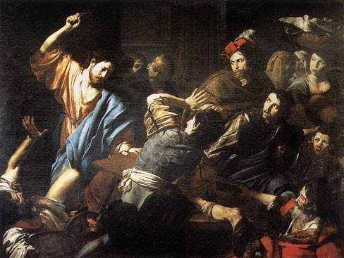 Valentin de Boulogne, c. 1618: Jesus and the Moneychangers