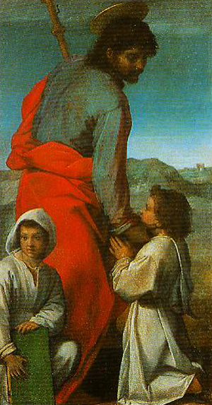 Andrea Del Sarto, 1529: St. James. He carries a walking stick as a reminder of the great Spanish pilgrimage site in his honor at Compostela.