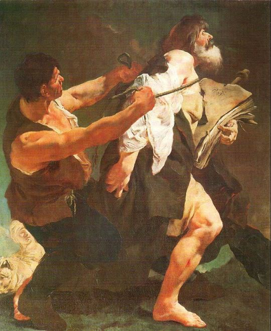 "Giovanni Battista Piazetta, 1723: St. James the Greater Led to Martyrdom. He and his brother John were sons of Zebedee and known as ""Sons of Thunder,"" perhaps for their passionate natures; Acts 12:1-2 tells us that Herod Agrippa had James put to death about 44 A.D."