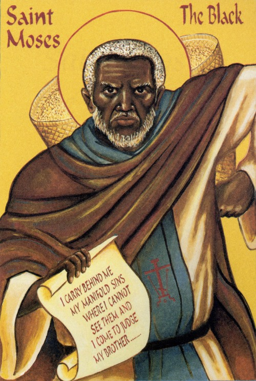Today is also the commemoration of Moses the Black, sometimes called Moses of Ethiopia. He lived at a desert monastery in Lower Egypt after a life of violence and wantonness. Once when his monks met to punish an errant brother, he arrived carrying a basket of sand with holes in it on his back. He explained that the grains represented his sins, which were now behind him. The monks forgave their sinning brother and everyone went back to their cells. (Iconographer unknown)