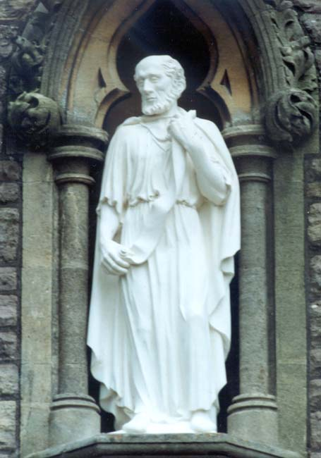 Statue of Bartholomew at a church named for him in Failand, England, in the Diocese of Bath and Wells. Tradition says he was an Evangelist in India and was martyred in Armenia.