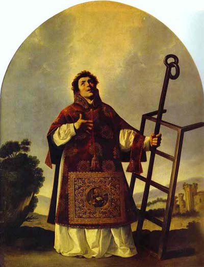 Francisco de Zurbaran: St. Laurence. A legend says he was roasted afire on a gridiron during a persecution under the emperor Valerian. A government official demanded the riches of the Church, so as Archdeacon of Rome, Laurence assembled the poor and needy, and presented them.