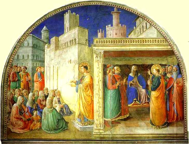 Fra Angelico, 1447: St. Stephen Addressing the Council. He offered such an eloquent defense of the faith that they had him put to death by stoning.