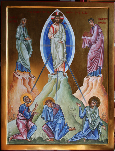 "Aidan Hart: Transfiguration. Here is a miracle that happened to Jesus, instead of his performing it for others. He took Peter, James and John and went up a mountain. There his appearance became dazzling white, and Moses and Elijah came to him. The voice of God came to the awe-struck disciples and said, ""This is my Son; listen to him."""