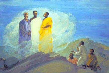 Jesus Mafa: Transfiguration. Peter, James and John went with Jesus to the top of a mountain, where Jesus appeared in the glory of the heavenly light, and Moses and Elijah came to speak with him. The three mortals were dazzled out of their senses, but Peter did keep it together enough to suggest that he build booths or tents for these greatest of dignitaries. Jesus is revealed as the fulfillment of the Law, represented by Moses, and as the Messiah foreseen by the prophets, represented by Elijah.