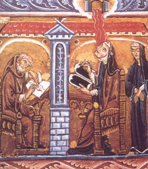 "Hildegard, a genius in many fields, was a ""Renaissance man"" centuries before any men got around to it. Beginning in childhood, she received a series of dazzling visions, and at 43 a voice commanded her to tell what she saw. So began an outpouring of original writings, illustrated by wondrous illuminations like this one."
