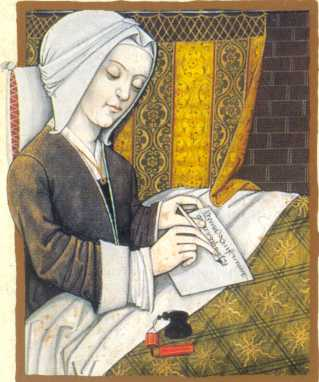 Margery Kempe had intense visions of Jesus Christ, followed by periods of emotional disturbance – the same thing that happens to some people today. Once she regained her emotional balance, she often set out on a pilgrimage. Her self-titled book dates from about the same time as Julian of Norwich, her friend and mentor. In those days men thought women were incapable of producing booksbut Kempe's certainty about what she experienced helped her overcome that. (source unknown)