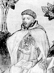 Richard Rolle, a Yorkshireman, became a hermit at 18, living alone on a squire's estate for about three years. After that little is certain about his life; he may have moved on to other patrons, he may have enrolled at the Sorbonne in Paris to study theology, and he may have been ordained. But he left behind a wealth of commentaries, meditations, essays and letters, with hundreds of extant manuscripts; he rivaled Chaucer in popularity, and his cult was still going strong, especially in the north of England, at the Reformation. His shrine was destroyed during the Dissolution of the Monasteries. (source unknown)