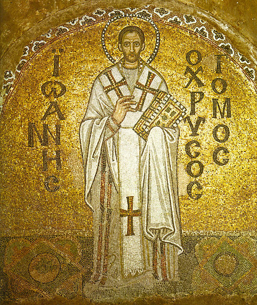 St. John the Golden-Tongued (as he was called, for he was an astonishing preacher) at the Hagia Sophia in Istanbul.