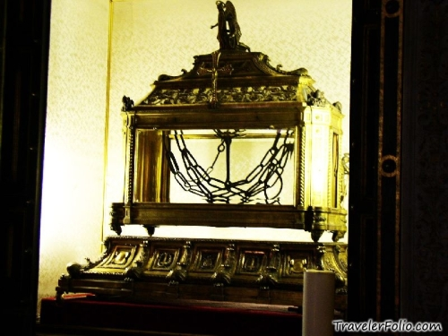 The supposed relic of the chain used on Peter, at the Basilica of St. Peter in Chains, Rome.