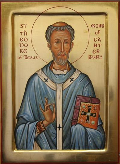 Aidan Hart: St. Theodore. He was an Eastern monk, not even a priest, whom the Pope made a surprise choice for Canterbury right after the Synod of Whitby, with its conflicts between Romanism and Celtic Christianity. (Rome won.) There was deep division to heal, as well as new liturgical forms to introduce. He managed to unite the English Church and to improve its administration, drawing diocesan and parochial boundaries that remain largely intact today. He was an old man, 66, when he became archbishop, and continued to serve until his death at 88. He also helped unify the Celtic and Roman strains in English Christianity, becoming, as Bede wrote, the first Archbishop everyone obeyed.