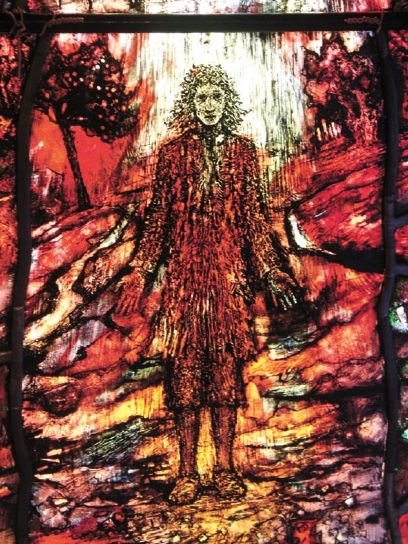 """Tom Denny: Thomas Traherne window at Hereford Cathedral, England. He was a priest and poet in the transition period between medieval certainty, about religion and other kinds of knowledge, and modern discovery and uncertainty. His poetry, which reveals a childlike faith and takes a great delight in nature, is often compared to William Blake's; Samuel Johnson dubbed Traherne one of the """"Metaphysical Poets."""""""