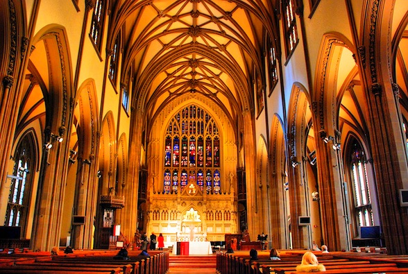 Trinity Church, Wall Street, New York,  designed by Richard Upjohn and consecrated in 1846.