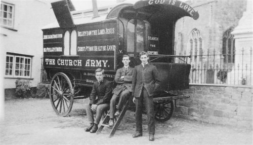 Church Army officers lived in these caravan wagons as they moved about the countryside, scandalizing the British Establishment by bold advertising, loud street music and generally kicking up a ruckus for Christ. (The Lay Vicar of this website is a Church Army evangelist.)
