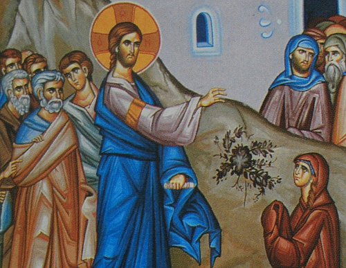 Jesus and the Canaanite woman; see the disapproval in the apostles' faces. (iconographer unknown)