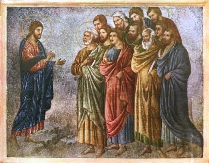 "Jesus commissions the apostles. The word apostle means ""one who is sent, as on a mission."" (unknown artist)"