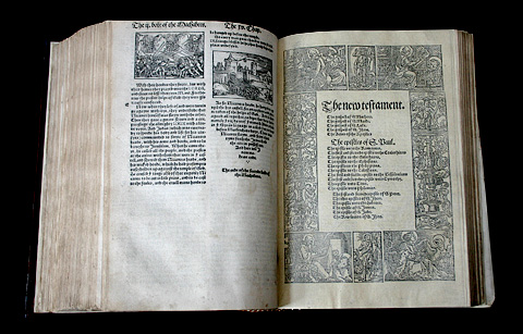 A first edition of Miles Coverdale's Bible, published in 1535, the first complete Bible in English, open to the New Testament cover page. Gutenberg first printed his Vulgate Bible with movable type in 1454.