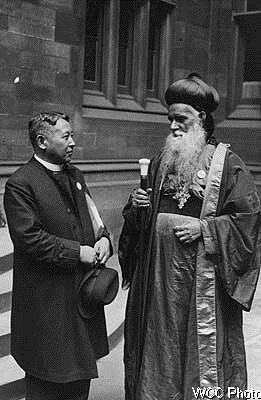 Bishop Sasaki with Mar Baselius, Catholicos of the Syrian Orthodox Church of Malabar, India in 1937, at an ecumenical meeting that helped lead to the postwar founding of the World Council of Churches. Nippon Sei Ko Kai was assisted by U.S. Episcopalians, but its leadership has always been Japanese. Sasaki resisted government efforts to consolidate all denominations into one structure; for this he was imprisoned and tortured. After World War II, however, Japanese Anglicans rallied around him. (WCC)