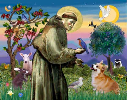 Francis's love for animals has made him very popular; people seem less ready emulate his love for beggars, lepers and the poor. (artist unknown)