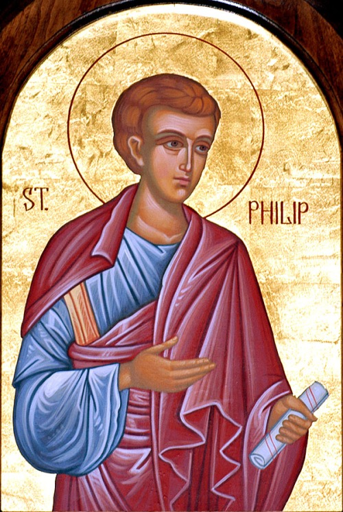 "St. Philip the Deacon, one of the ""seven honest men"" in Acts appointed as almsgivers in Jerusalem, continued his ministry and settled in Caesarea, where he hosted St. Paul; some sources say he eventually became Bishop of Lydia in Asia Minor. But he's best known for explaining Christ and the prophets to a black, foreign, sexually variant  Gentile, baptizing him into the Body of Christ. (artist unknown)"