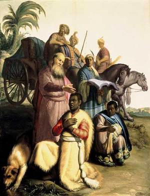 St. Philip the Deacon baptizing the Ethiopian eunuch, by an unknown artist.