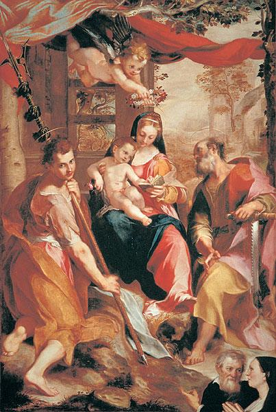 Federico Fiori, 1567: Madonna and Child with St. Simon and St. Jude. We don't know much about either man; Simon was called a Zealot, while Jude may have written the epistle named for him. Both are said to have been martyred, but the record is uncertain.