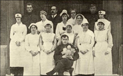 Volunteer nurses at Dr. Grenfell's Seamen's Institute in St. John's, Newfoundland, during the devastating Spanish flu epidemic of 1918. He was English-born, joined the Royal National Mission to Deep-Sea Fishermen after obtaining his medical degree, and served in Iceland and the Bay of Biscay until one day in 1892 when he visited Labrador and was appalled by the poverty, sickness and near-starvation of British workers there. Within a year he built the first hospital, from which grew a whole range of kindly services.