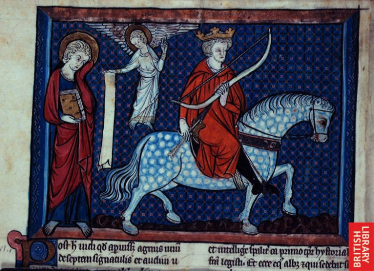 Rider on a white horse, from a 14th century illuminated manuscript of the Apocalypse. (British Library)